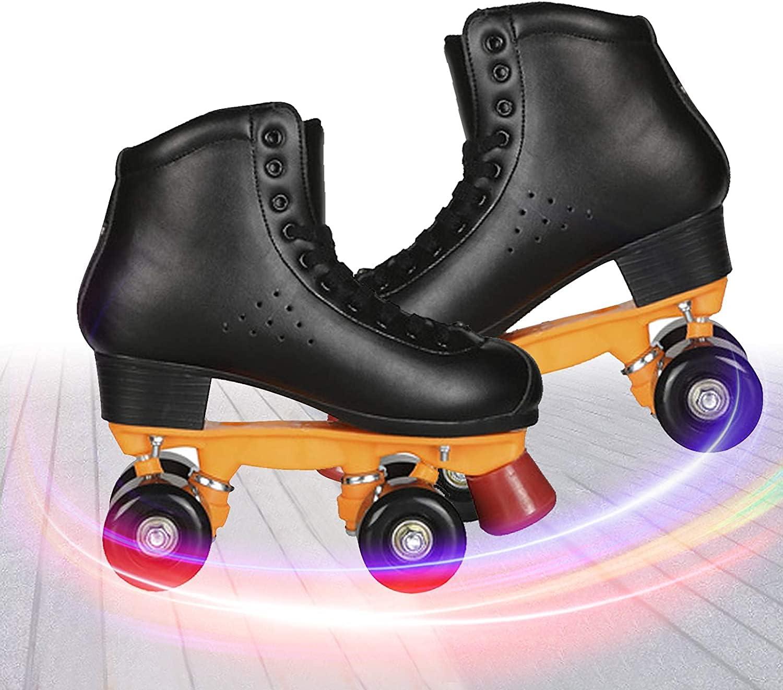 ADSHCEI Max 73% Elegant OFF Four-Wheel Skates Double-Row Skating Speed Black