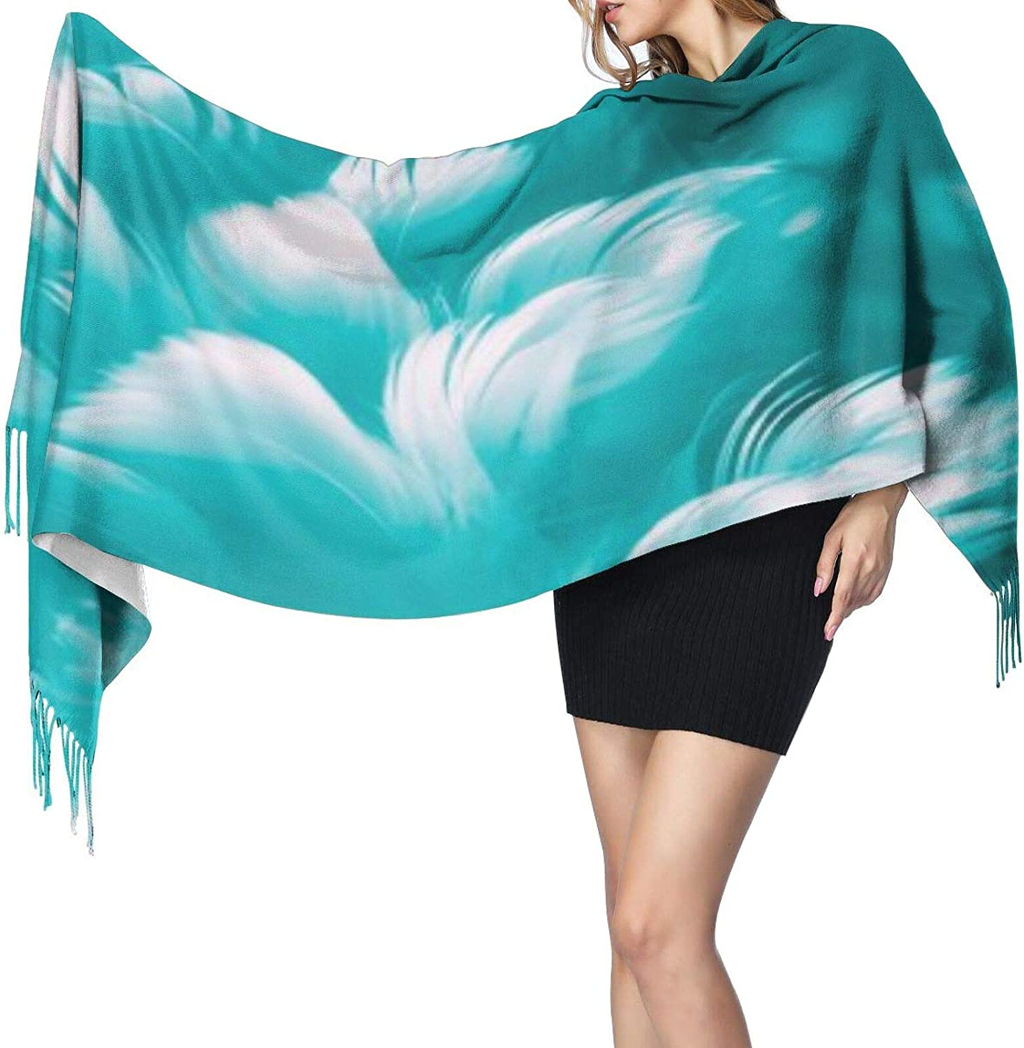 Cashmere fringed scarf Turquoise blue feather winter extra large scarf