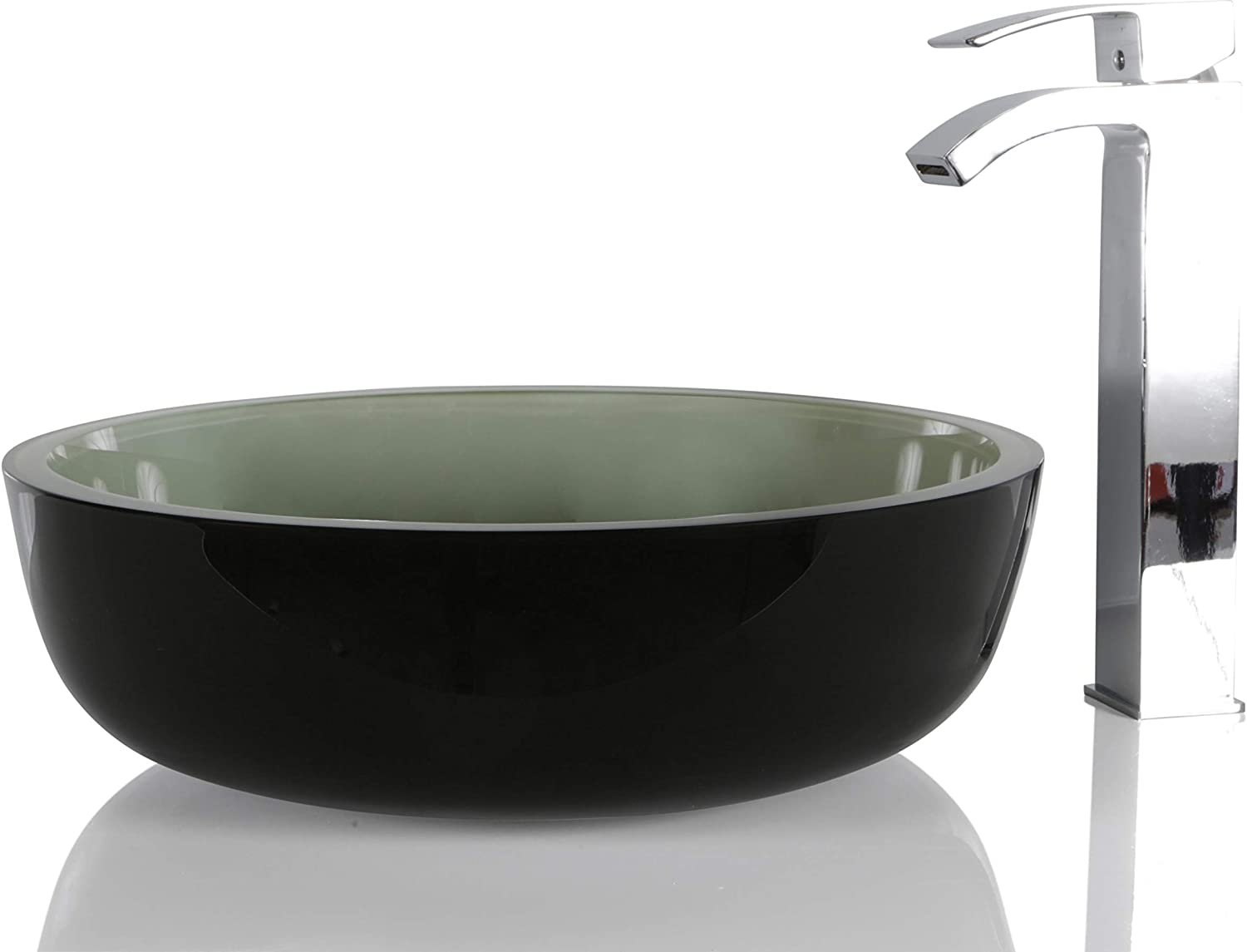 Green Glass Round Wash Basin - Designer Bathroom Countertop Sink with Free Waste in Ombre Effect