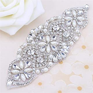 Bridal Belt Rhinestone Applique with Pearls for Wedding Dress Decorative Bags Headbands