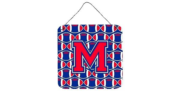 Carolines Treasures Letter M Football Harvard Crimson and Yale Blue Wall or Door Hanging Prints CJ1076-MDS66 6 H x 6 W,