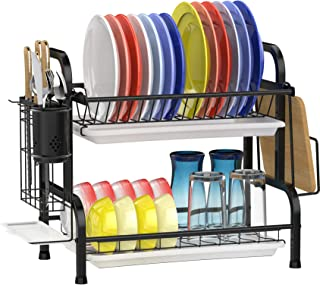 Dish Drying Rack, GSlife Stainless Steel 2 Tier Dish Rack with Drainboard Utensil Holder Dish Drainer for Kitchen Counter,...