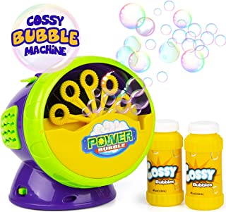 cossy Bubble Machine, Automatic Durable Bubble Blower, 1000 Bubbles per Minute with 2 Bottles of Bubble Solution, Waterproof Motor and Rugged Housing, Kids Play for Indoor and Outdoor