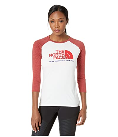 The North Face Americana Tri-Blend Baseball Tee (TNF White Heather/Cardinal Red Heather) Women