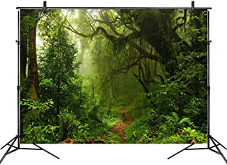LB Jungle Forest Backdrop 7X5ft Vinyl Tropical Green Rainforest Photo Backdrop for Photoshoot Kids Baby Shower Birthday Party Portraits Photo Booth Backdrop