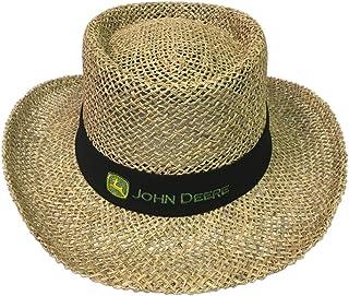 قبعة سوداء من القش مع حزام الرقبة من John Deere