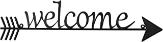 MyGift Black Metal Welcome Wall Sign with Decorative Rustic Arrow
