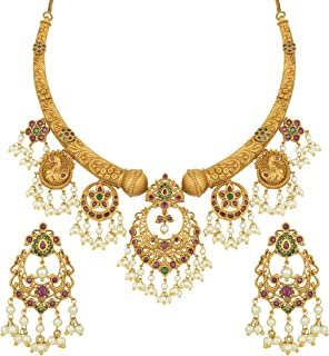 Aheli Antique Golden Color Hasli Necklace Earrings Set South Indian Traditional Wedding Jewelry for Women