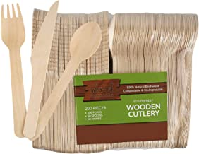 wood collection Disposable Wooden Cutlery Set (Pack Of 200 Utensils)   50 Knives, 50 Spoons & 100 Forks From Natural & Bio...