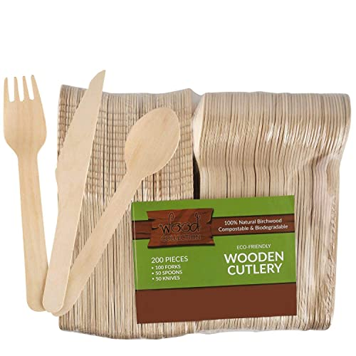 wood collection Disposable Wooden Cutlery Set (Pack Of 200 Utensils) | 50 Knives, 50 Spoons & 100 Forks From Natural & Biodegradable Birchwood | Compostable Wooden Tableware For Parties.