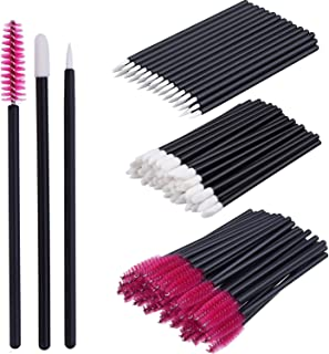 eBoot 150 Pieces Disposable Lip Brushes Eyeliner Brushes Eyelash Mascara Brushes Makeup Tool Kits (Rose Red)