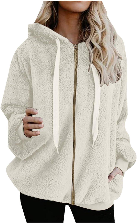 Eoailr Womens Full Zip Up Sherpa Hoodie Fuzzy Fleece Jacket Oversized Fluffy Coat Hooded Jacket Outwear Cardigan
