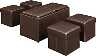 Convenience Concepts Designs4Comfort Manhattan Storage Bench with 4 Collapsible Ottomans, Espresso Faux Leather