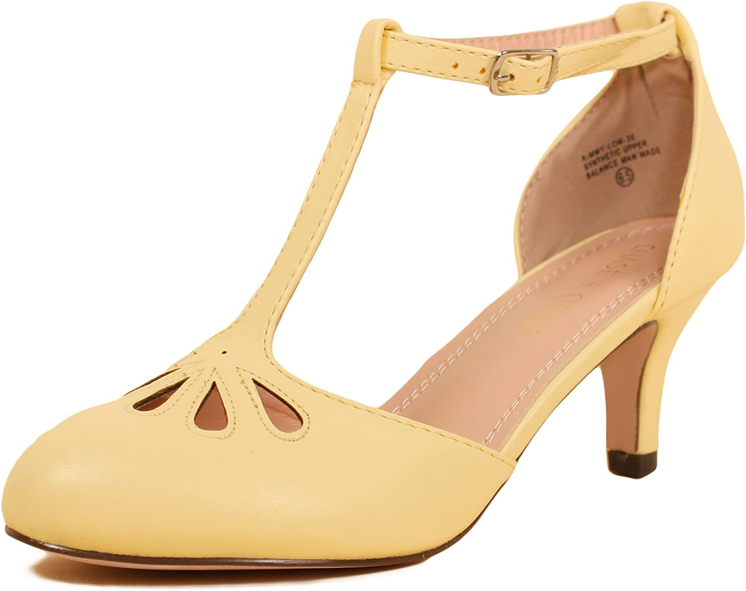 Chase & Chloe Women's Retro Kimmy-36 Mary Jane Teardrop Cut Out T-Strap Low Pump Heel