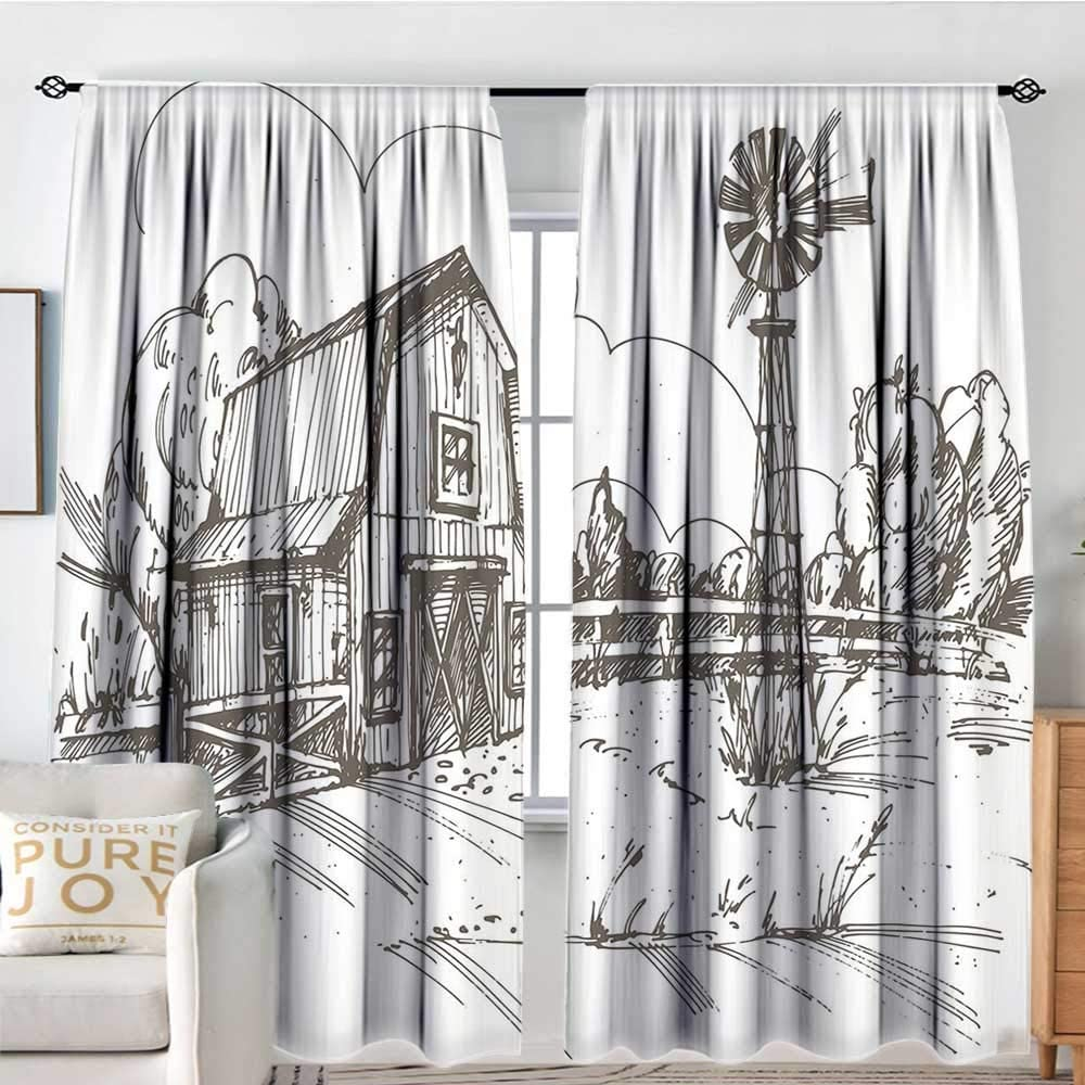 Blackout Curtains Windmill Decor Rustic Barn Farmhouse Kansas City Mall Draw Challenge the lowest price of Japan Hand