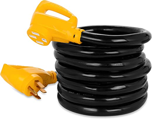Camco 15' PowerGrip Heavy-Duty Outdoor 50-Amp Extension Cord for RV and Auto | Allows for Additional Length to Reach Distant Power Outlets | Built to Last (55194)