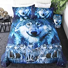 Sleepwish Blue Wolf Bedding Winter Wolves Animal Duvet Cover Nature Wildlife Creature Bed Set 3 Pieces American Wolf Bedspread (Queen)