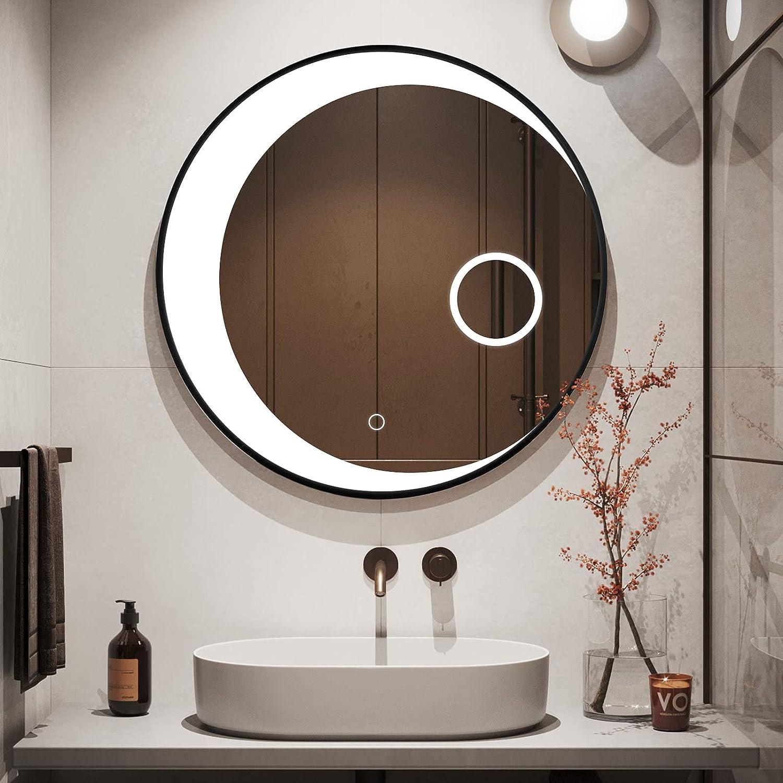 Yetudo Round LED Mirror Circle Minneapolis Mall Vanit Lighted Wall Kansas City Mall Mounted