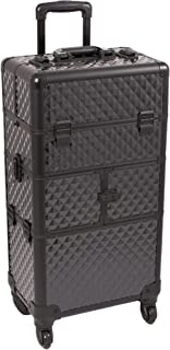 SUNRISE Makeup Case on Wheels 2 in 1 Professional Organizer I3464, 12 Trays, 4 Wheel Spinner, Adjustable Drawer Dividers, Black Diamond