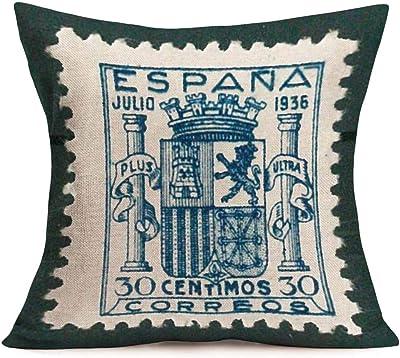 Jhonangel Fundas de Almohada Algodón Lino Vintage España Estampilla Estampado Decorativo Fundas de cojín Funda de Almohada Cuadrada Decoración Hogar para sofá 45x45 cm / 18x18 Pulgadas (Sello 09): Amazon.es: Hogar
