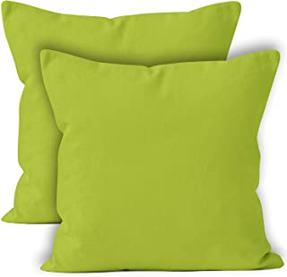 Encasa Homes Throw Cushion Cover 2pc Set - Lime Green - 20 x 20 inch Solid Dyed Cotton Canvas Square Accent Decorative Pillow Case for Couch Sofa Chair Bed & Home