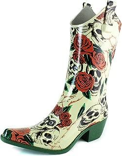 DailyShoes Cowboy Rose Skull Floral Prints High Heel Rain Boots