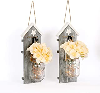 HAchoo Wall Décor for Dining Rooms Rustic Brown Country Chic Wall Art – Set of 2 Vertical Sconces – Hanging Mason Jar Home Decorations – LED Light with 6h Auto Off Function – Universal Home Décor