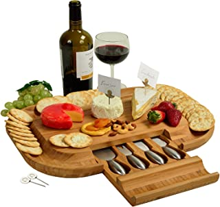 Picnic at Ascot Original Bamboo Cheese Board/Charcuterie Platter with Cheese Tools & Cheese Markers- Designed & Quality Checked in the USA