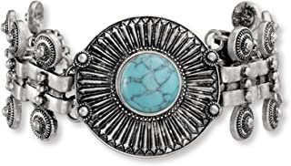 Steve Madden Oxidized Silver-Toned Simulated Turquoise 33mm Tribal Bracelet for Women