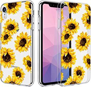 Caka Clear Case Compatible for iPhone XR Clear Floral Case Flower Pattern Slim Girly Anti Scratch Excellent Grip Premium Clarity TPU Crystal Protective Case for iPhone XR (6.1 inch) (Sunflower)