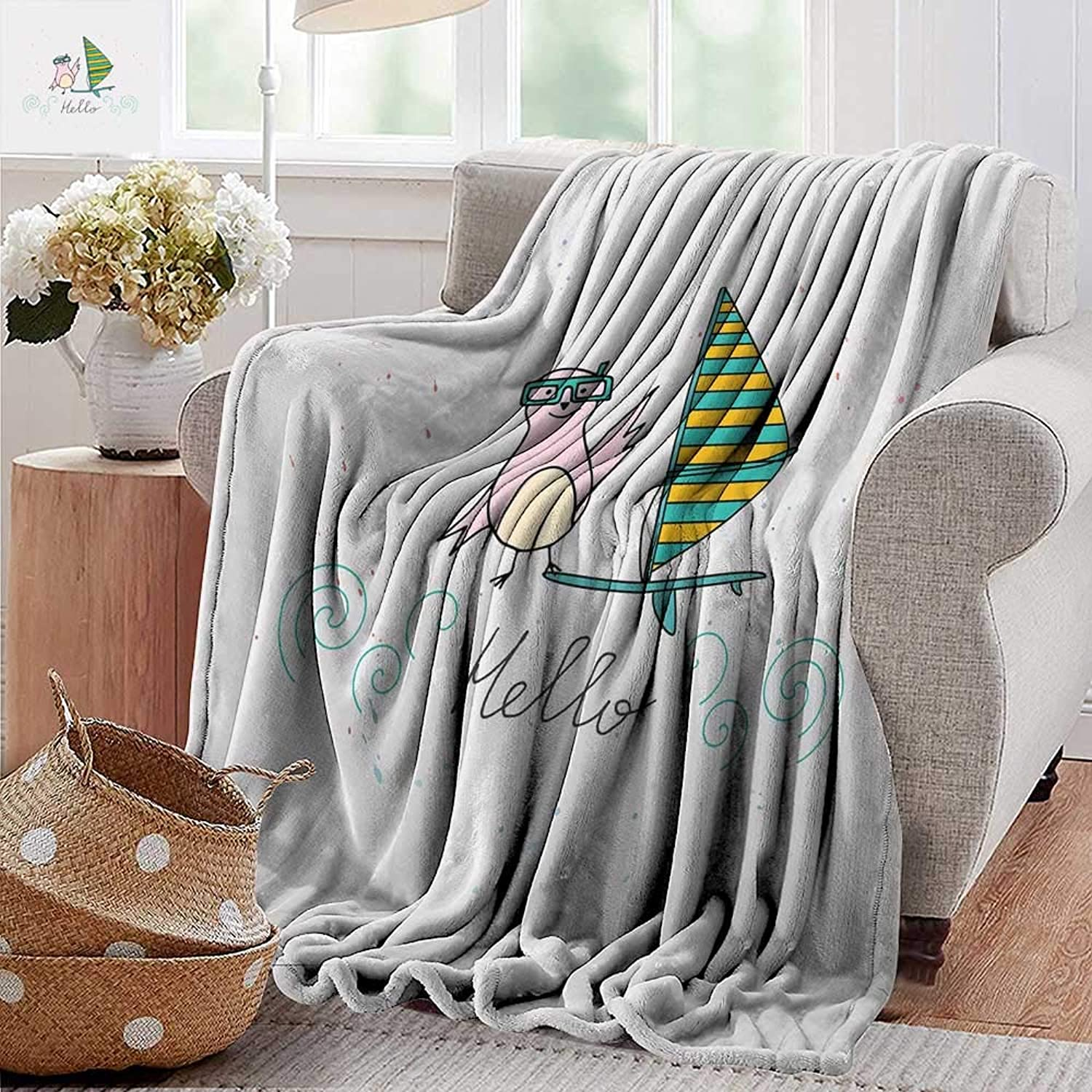 PearlRolan Swaddle Blanket,Hello,Summer Inspiration with Hand Drawn Bird and Windsurf Board Cartoon Style,Mint Green Yellow Pink,Lightweight Extra Soft Skin Fabric,Not Allergic 50 x70