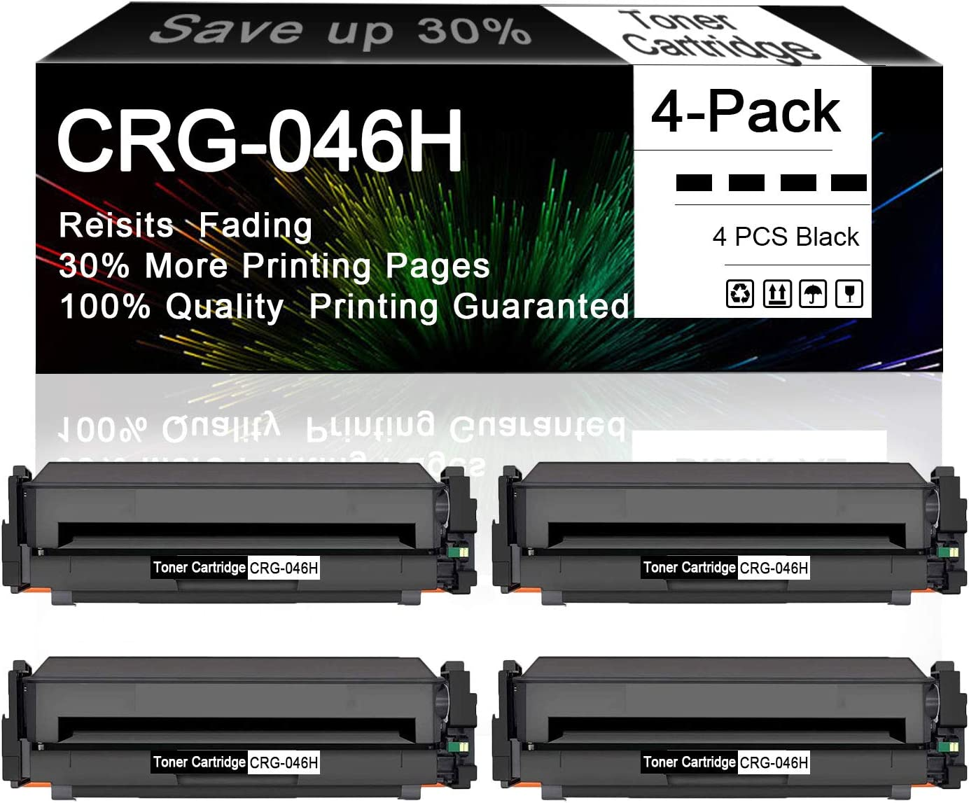 4-Pack Black 046H Compatible Toner Cartridge Replacement for Canon Color Image Class LBP654Cdw MF735Cdw MF731Cdw MF733Cdw Printers.