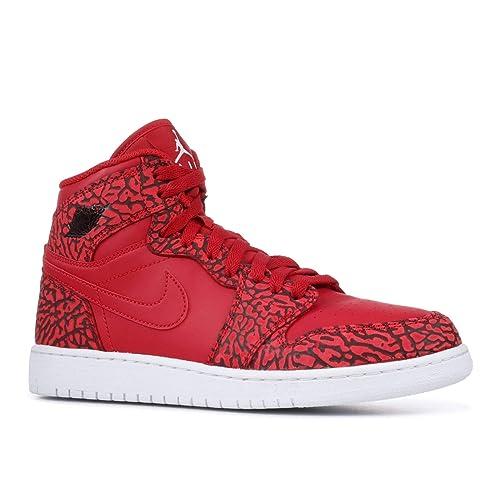 bbad9f800c01cb Nike Jordan Kids Air Jordan 1 Retro Hi Prem BG Basketball Shoe ~ Team Red