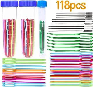 SOMOTT かぎ針 大きな目 編み針 115本入り 手編み針 3タイプ とじ針 先曲げタイプ 丸針 プラスチック 手あみ針 編み 手芸 クラフト工具 針用容器付き