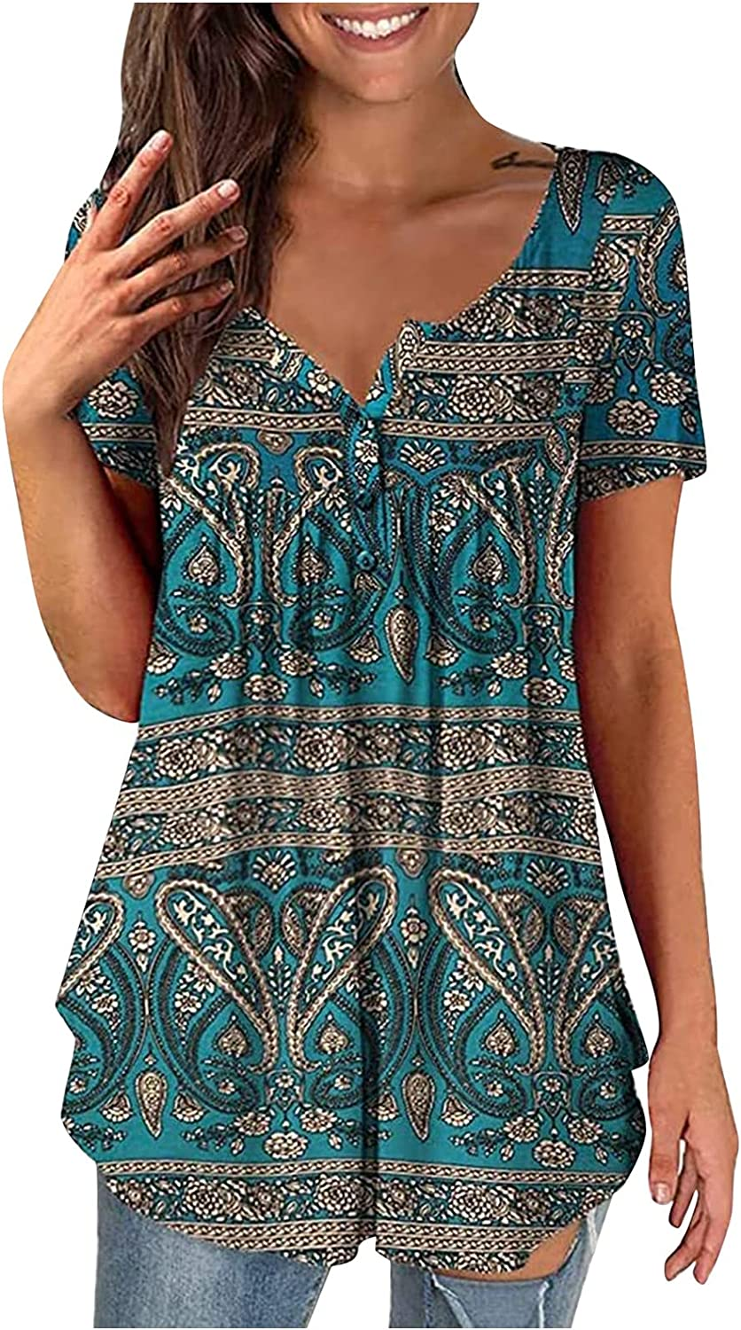 Milwaukee Mall Short Sleeve Blouses for Women Print Casual Discount mail order Neck Summer V