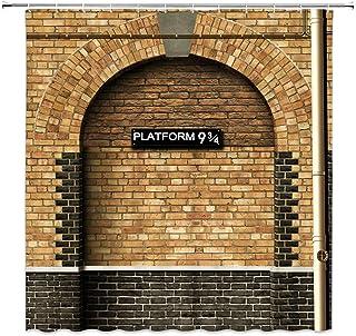 Feierman Harry Potter Serie - Cortina de Ducha con Plataforma de 93/4 a la Wizarding de Tela para el baño, Lavable a máquina, Resistente al Moho con Ganchos, 177,8 x 177,8 cm