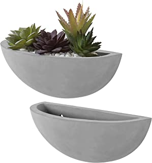 MyGift Wall Mounted Cement Half-Moon Planter Vases, Set of 2