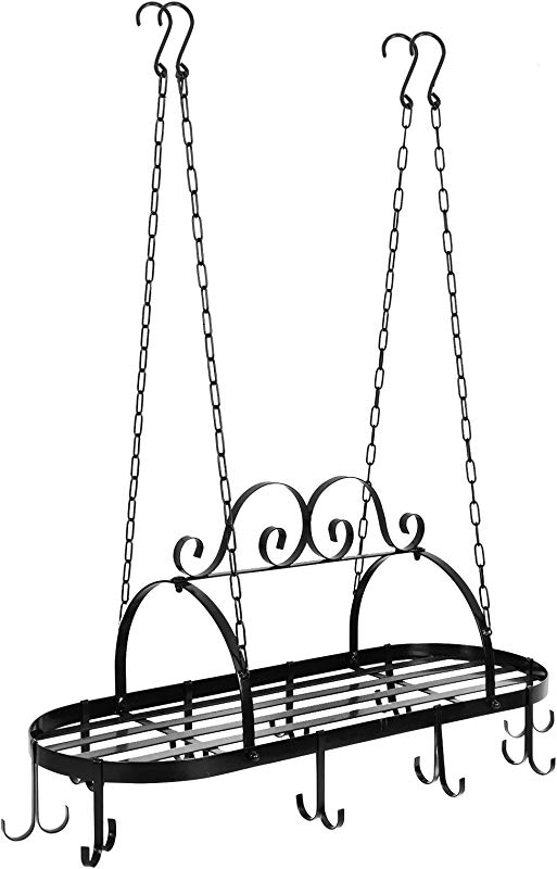 ZENY Pot Pan Rack For Ceiling Cookware Hanging Organizer With Hooks Multi Purpose Storage Rack Great For Kitchen Cookware Utensils Pans Household Items Oval Iron