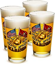 Pint Glasses – Marine Gifts for Men or Women – Double Flag Gold Globe - Marine Corps Beer Glassware – Beer Glasses with Logo - Set of 4 (16 Oz)