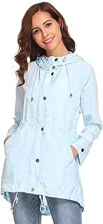 OD'lover Women's Waterproof Lightweight Rain Jacket Active Outdoor Hooded Raincoat