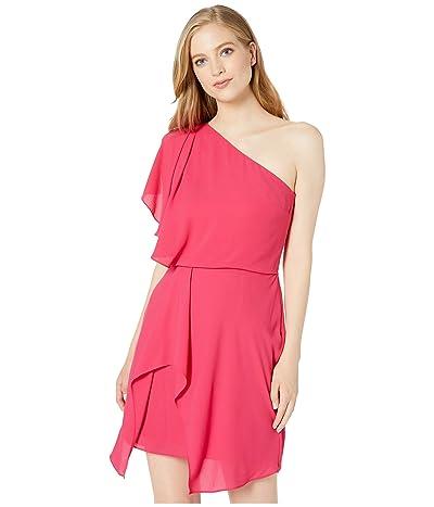 Halston Heritage Flowy One Shoulder Dress with Draped Skirt (Bright Raspberry) Women
