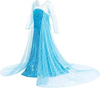 FUNNA Princess Costume for Girls Dress Up with Sequins Long Cap Fancy Party