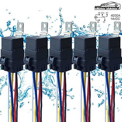 5 Pack 40 30 12 V Dc Waterproof Relay And Harness Heavy Duty
