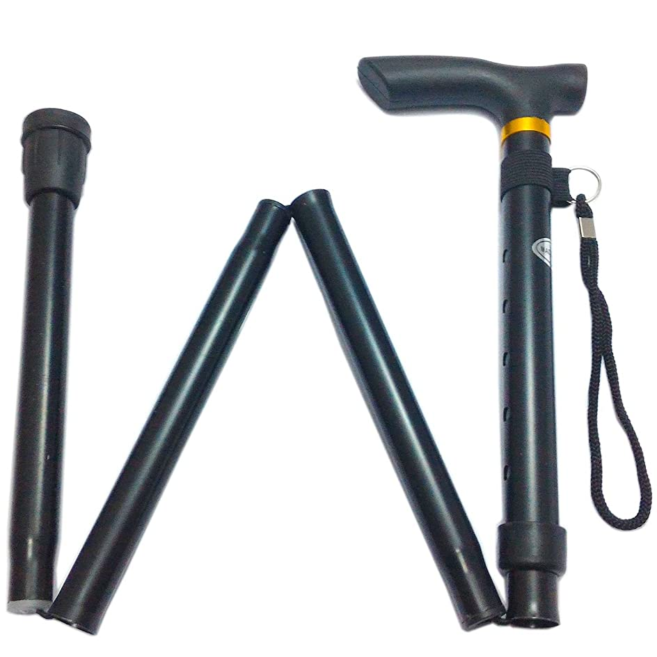 手伝う抽象化アレンジヨロズヘルスケア らくらくステッキ 折りたたみ 杖 つえ 軽量 折り畳み伸縮式アルミステッキ(マットブラック)
