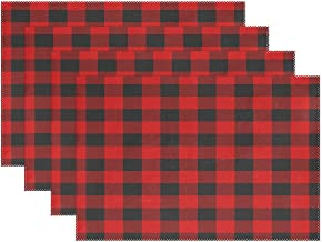 WOZO Christmas Black Red Plaid Placemat Table Mat 12 x 18 Polyester Table Place Mat for Kitchen Dining Room 1 Piece