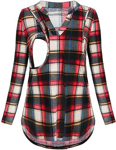 QinMM Camiseta a Cuadros V Cuello de Manga Larga Premamá para Mujer Embarazo Lactancia T-Shirt Camisa Tops Blusa