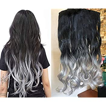 20 Inches Thick One Piece Half Head Wavy Curly Ombre Clip in Hair Extensions (Col. Natural black to Grey) DL …