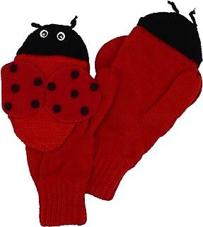 قفازات أكريليك ناعمة على شكل دعسوقة حمراء للبنات مع أجنحة ممتعة وقرون استشعار.