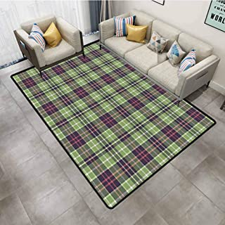Indoor Outdoor Rug Retro Scottish Plaid Pattern Classical Checkered Striped Design Traditional Geometric Tile Multicolor Carpet Rug 4'x6'