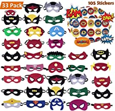 Superhero Masks 33pcs Plus 105 Stickers Party Favors for Kids Cosplay Felt and Elastic, Superheroes Birthday Party Masks with 33 Different Types Perfect for Children